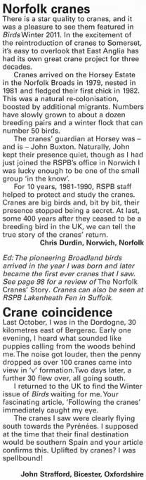 Birds magazine letters page